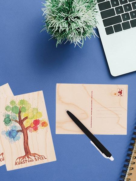 Grußkarten & Postkarten aus Holz