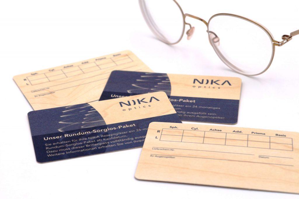 Kundenkarten aus Holz