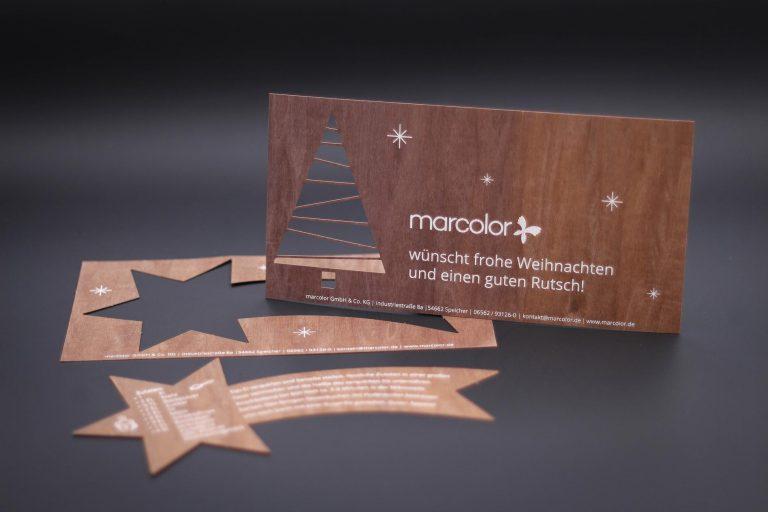 Weihnachtskarte aus Echtholzfurnier